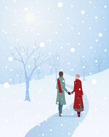 warmly: an illustration of a winter scene with a warmly dressed couple walking through a snowy park holding hands Illustration