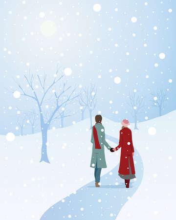 una ilustración de una escena invernal con una pareja vestida con gusto caminar tomados de la mano a través de un parque de nieve