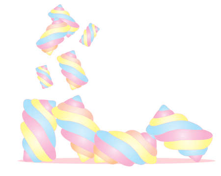 tumbling: an illustration of fluffy colorful marshmallow twists isolated on a white background