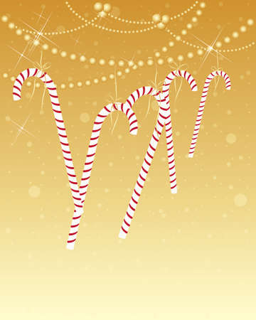 an illustration of striped festive candy canes hanging by golden thread on baauble decoration with sparkles and a metallic background Stock Vector - 16468701