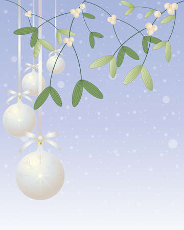 an illustration of christmas mistletoe plant with silver bauble decorations on a blue snowy background Stock Vector - 16468702