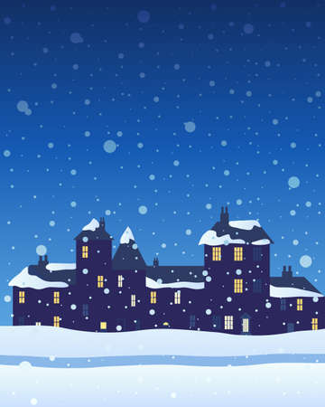 snow covered: an illustration of a row of town houses with snow covered roof and lighted windows at christmas with snowflakes falling from a night sky Illustration
