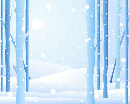 an illustration of the edge of a forest in winter with frosted tree trunks and snowy fields and light snowflakes falling from an icy blue sky Stock Vector - 16488080