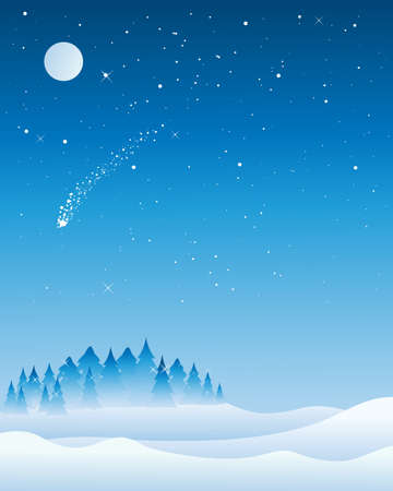 glistening: an illustration of a christmas tree syline on a cold snowy night with fir trees glistening under a full moon and a shooting star Illustration