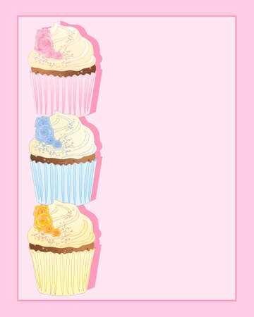 an illustration of three cupcakes in pink blue and yellow with rose decoration on a pink background with space for text Stock Vector - 16517152