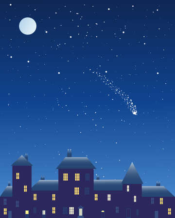 shooting star: an illustration of an urban night scene with dark buildings lighted windows and frosted roof under a starry sky with full moon and shooting star Illustration