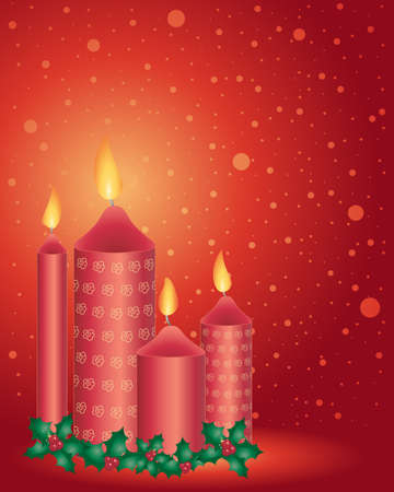 holly day: an illustration of four decorative christmas candles in deep red with festive holly and snowflake background