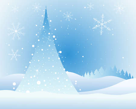 outdoor lights: an illustration of an abstract christmas tree with white lights and sparkles in a snowy landscape with fir trees and fancy snowflakes in a cold sky