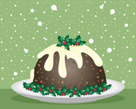 christmas pudding: an illustration of a christmas pudding with cream sauce and holly decoration on a white plate with a green snowflake festive background