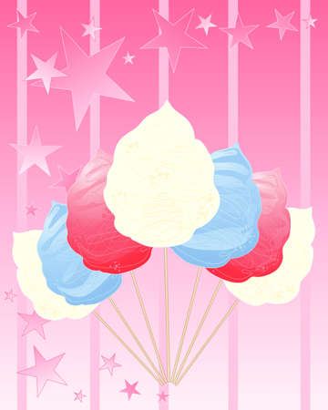 an illustration of red white and blue cotton candy symbolic of the united states flag on a sugar pink background with abstact stars and stripes Vector