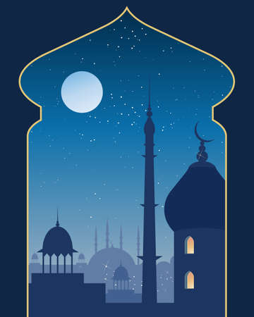 an illustration of an islamic urban scene with mosque and asian architecture on a moonlit night viewed through a decorative archway