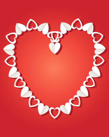 paper chain: an illustration of a decorative paper chain made up of hearts in a valentine shape on a red background