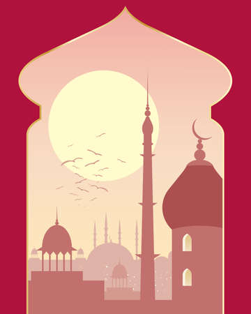 archway: an illustration of an islamic urban scene with mosque and asian architecture on a sunny evening viewed through a decorative archway Illustration