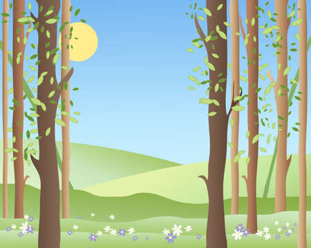 an illustration of the edge of a springtime forest with green fields young leaves and flowers under a warm blue sky Stock Vector - 16645983
