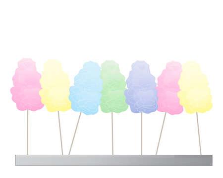 algodon de azucar: una ilustración de algodón de azúcar de colores en una fila aislados sobre un fondo blanco Vectores