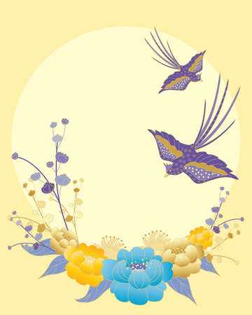 an illustration of colorful oriental birds and ornate flower design on a big yellow sun Vector