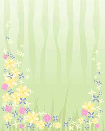 an illustration of a springtime image with abstract flowers bursting in to life and a green vegetation background Stock Vector - 16646044