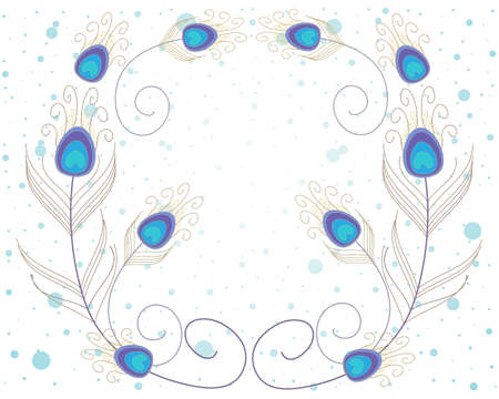an illustration of abstract peacock feathers in blue and gold on a white spotty background Illustration