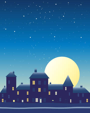populated: an illustration of a big harvest moon over a city skyline under a night sky with stars