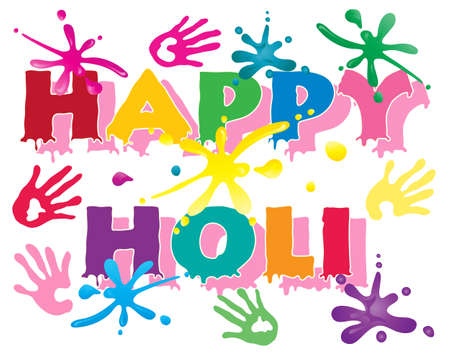 an illustration of happy holi in colorful letters to celebrate the hindu festival with hand prints and paint splashes isolated on a white background Stock Vector - 16690071