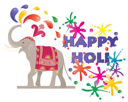 asian elephant: an illustration of a ceremonial elephant spraying colorful paint to celebrate the hindu festival of holi isolated on a white background Illustration