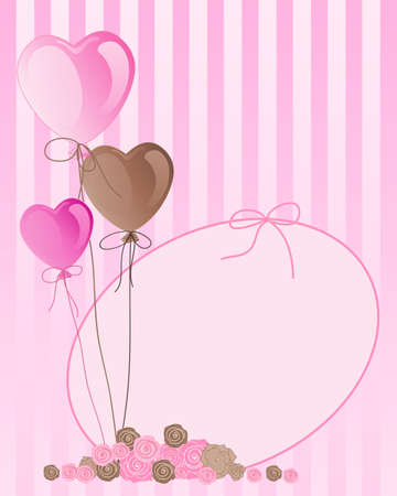 candy stripe: an illustration of pink and brown valentine balloons with greeting card and a cluster of roses on a candy stripe background