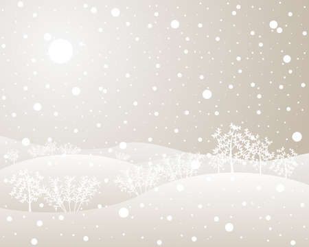 hedgerows: an illustration of cold winter hedgerows in beige and white tones with a white sun and a snow shower Illustration