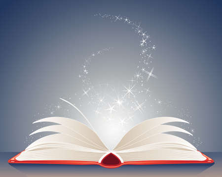 an illustration of a bright red magic book of spells open on a table with stars and sparkles on a dark blue background