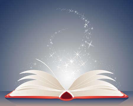 libro abierto: una ilustraci�n de un libro m�gico brillante rojo de los hechizos de abrir en una mesa con estrellas y destellos sobre un fondo azul oscuro