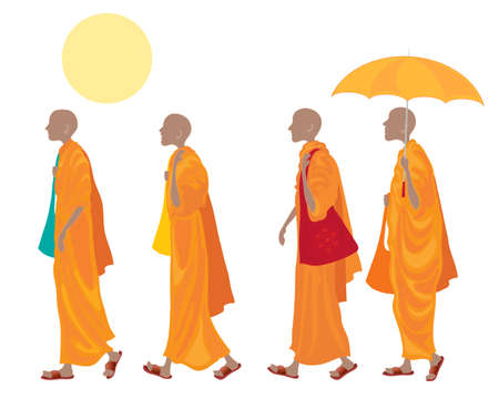monks: an illustration of a four buddhist monks walking in line with orange robes carrying cloth bags and wearing brown sandals one with an umbrella under a yellow sun on a white background