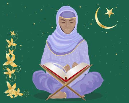 croissant de lune: une illustration d'une femme musulmane assis les jambes crois�es �tudier le livre saint Coran en costume traditionnel avec l'�toile et du croissant de lune sur un fond vert Illustration