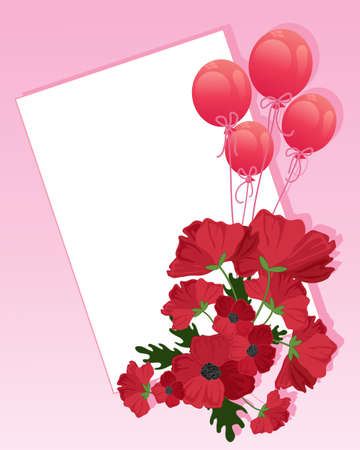 best wishes: an illustration of a bouquet of poppies and red balloons with pink ribbons in front of a blank white card with space for a greeting on a pink background