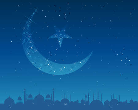 far east: an illustration of an islamic crescent moon and star decorated with sparkles and stars shining over an exotic asian city skyline