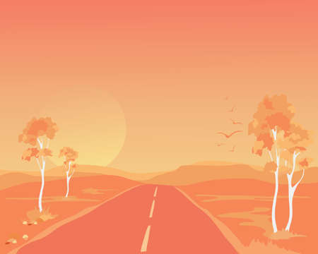 an illustration of an australian outback landscape at sundown with eucalyptus trees and a lonely road running through the hills bathed in orange light Stock Vector - 16925171