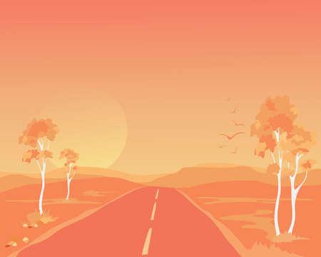 australian outback: una ilustraci�n de un paisaje interior de Australia al caer el sol, con �rboles de eucalipto y una solitaria carretera que atraviesa las colinas ba�adas en luz naranja