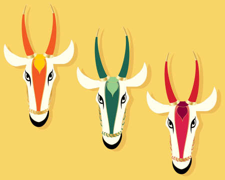 jain: an abstract illustration of three jain cow heads in different colors on a mustard coior background with space for text Illustration