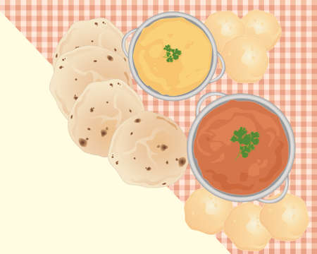 an illustration of an indian breakfast meal including lentil dahl curry pooris and chapattis on a tablecloth with some blank space for text Illustration
