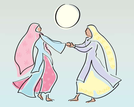 salwar: an abstract illustration of two traditionally dressed punjabi women dancing under a yellow sun with space for text Illustration