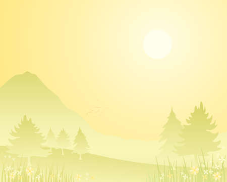 an illustration of a summer background with fir trees hills and flowers in lemon tones under a bright sun with space for text Stock Vector - 17042043