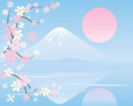 far east: una ilustración de un paisaje oriental con montañas cubiertas de nieve se refleja en aguas tranquilas con ramas de flor bajo un sol de color rosa
