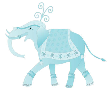 an illustration of an abstract decorated indian elephant walking along dressed for a ceremony in shades of blue isolated on a white background Stock Vector - 17061294