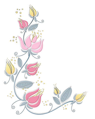 nosegay: an illustration of an abstract lily flower design with black line drawing and color isolated on a white background Illustration
