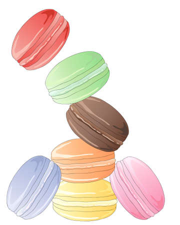 an illustration of a tumbling tower of delicious colorful macaroons isolated on a white background