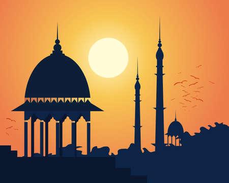 far east: una ilustración de una hermosa puesta de sol indio con los árboles de arquitectura antigua y los pájaros que vuelan en a dormir bajo un cielo de color naranja brillante