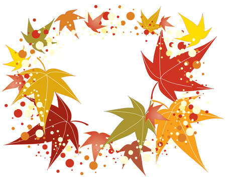 an illustration of an arrangement of colorful maple leaves with decoration isolated on a white background Stock Vector - 17203281