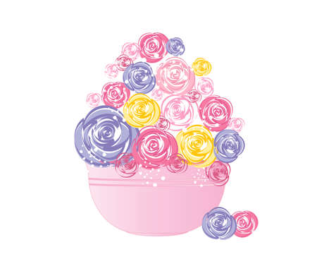 posy: an illustration of a stylized posy of abstract roses displayed in a bowl isolated on a white background