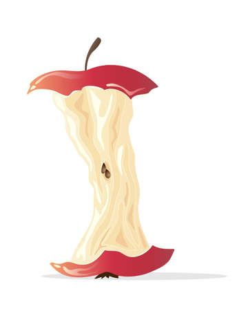 an illustration of an eaten apple with stalk pips and core left over isolated on a white background with space for text Çizim