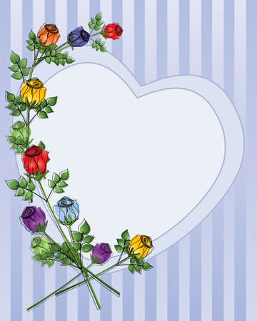 roses and hearts: an illustration of a a valentine heart on a striped background with stylized rose buds and foliage as decoration Illustration