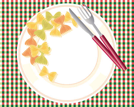 an illustration of a white plate of farfalle pasta in different shades with metallic knife and fork on a tablecloth in italian colors Vector