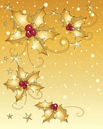 an illustration of a christmas greeting card with metallic golden holly stars and snowflakes and space for text Stock Vector - 17292223